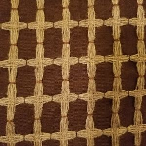Pier 1 Brown Jute Embroidered Lined Drapery Panels